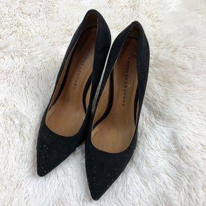 Chinese Laundry 9 Black Suede Rhinestone Heels